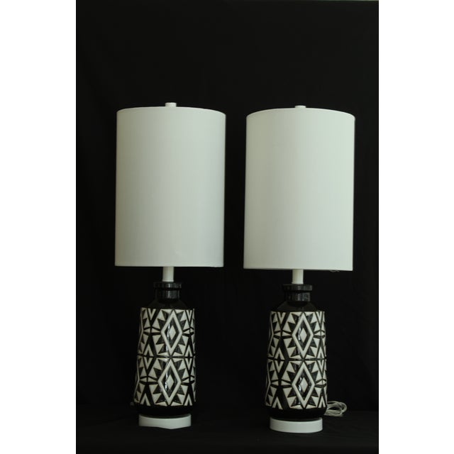 Ceramic Geometric Ceramic Table Lamps - A Pair For Sale - Image 7 of 7