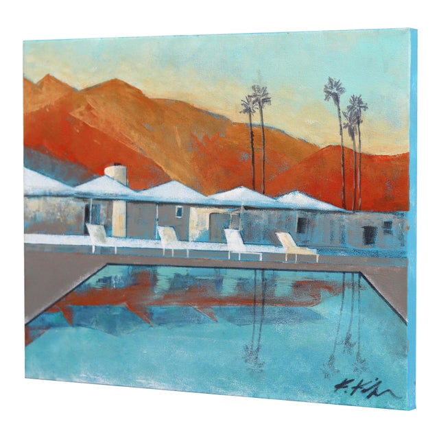 """Mid Century Palm Springs Sunset"" Original Artwork by Kathleen Keifer For Sale In Los Angeles - Image 6 of 8"
