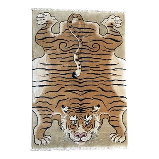 "Muni Chinese Handmade Tiger Rug-4'6'x6'6"" For Sale"