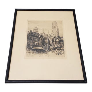 "Andrew Karoly (Hungarian, B.1893) ""Street of Rouen"" Signed Etching C. 1931 For Sale"