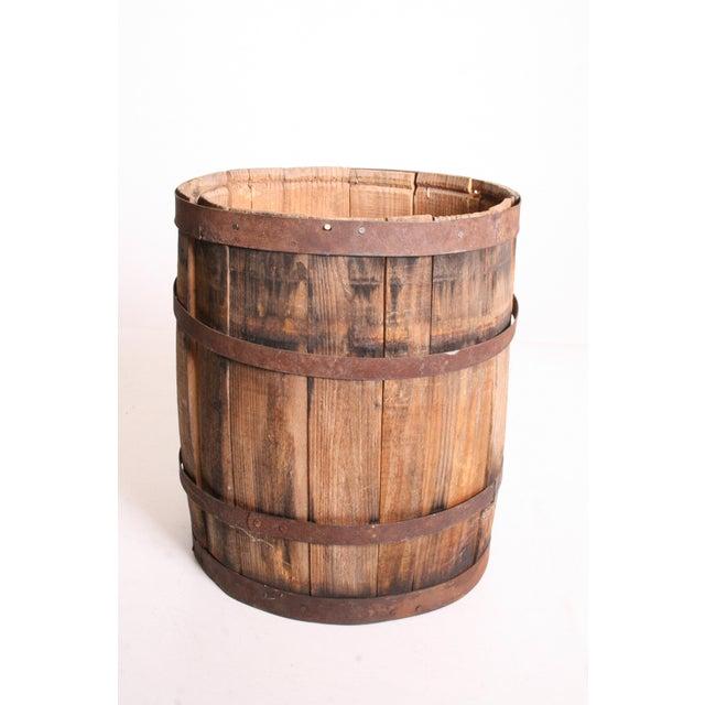 Vintage Rustic Banded Weathered Wood Nail Keg - Image 7 of 11