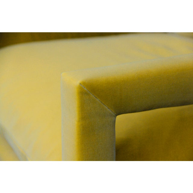 Milo Baughman 1970s Contemporary Milo Baughman Reupholstered Yellow Velvet Parsons Chairs - a Pair For Sale - Image 4 of 5