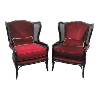 Ethan Allen Regency Faux Bamboo Chairs - a Pair For Sale