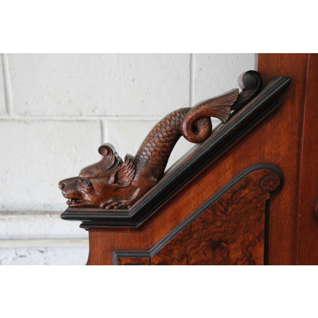 Monumental 19th Century Victorian Ornate Carved Burled Walnut Sideboard For Sale - Image 10 of 13