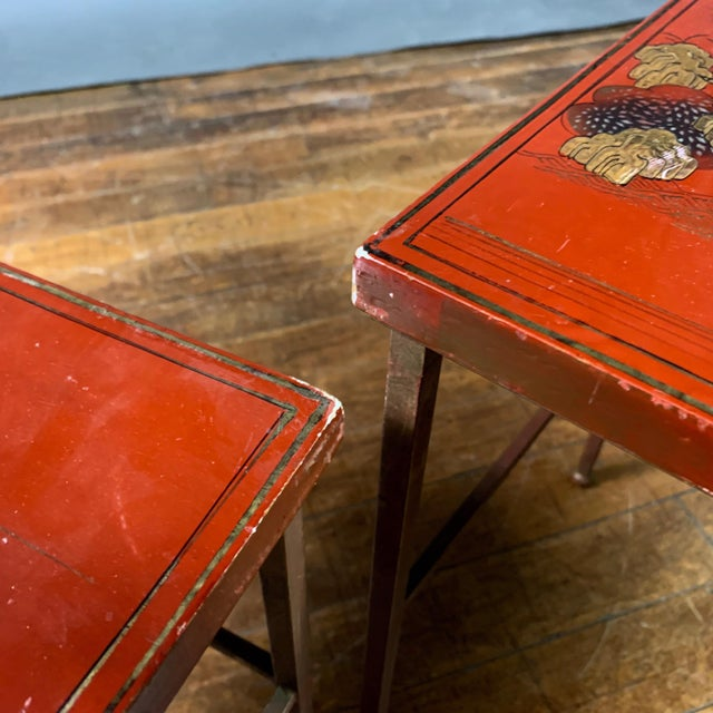 19th Century Chinese Red Lacquered Nesting Tables - Set of 3 For Sale - Image 12 of 13