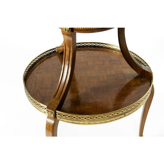 Louis XVI Two-Tier Marble Top Marquetry Side or End Table For Sale In New York - Image 6 of 13