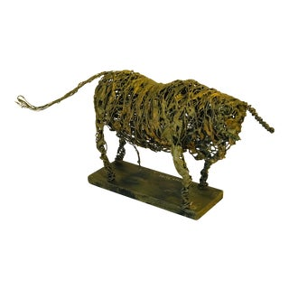 Signed Metal Wire Sculpture of Bull For Sale