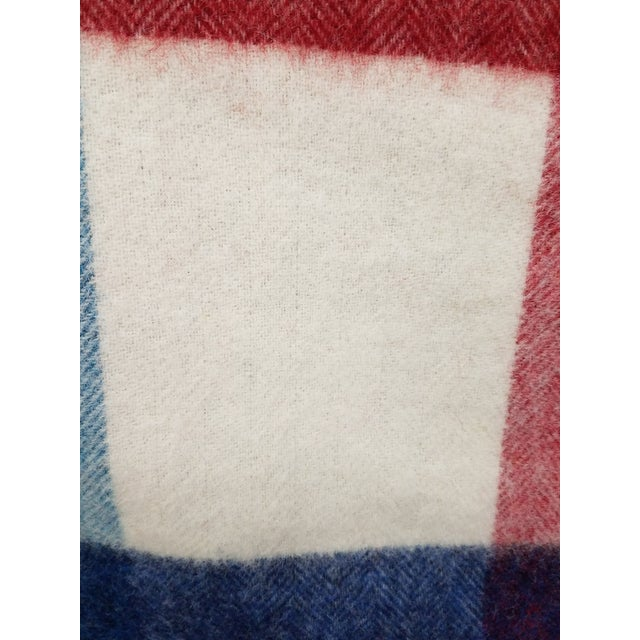 Wool Throw Red Blue White Square Stripes - Made in England For Sale In Dallas - Image 6 of 12