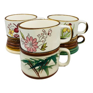 1970s Mismatched Stoneware Soup Mugs - Set of 6 For Sale