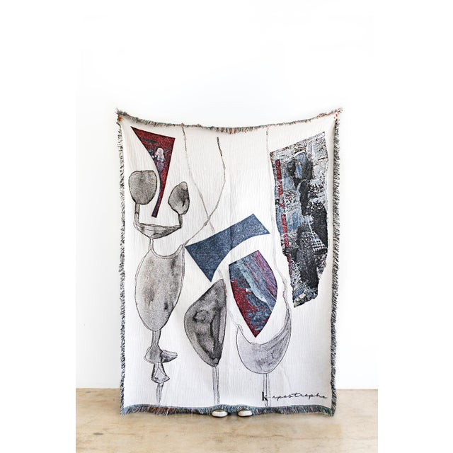 Abstract Abstract White & Gray Woven Cotton Throw Blanket For Sale - Image 3 of 3