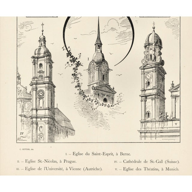 Large C1880s French Architecture Lithograph of Towers & Clock Towers For Sale - Image 4 of 5