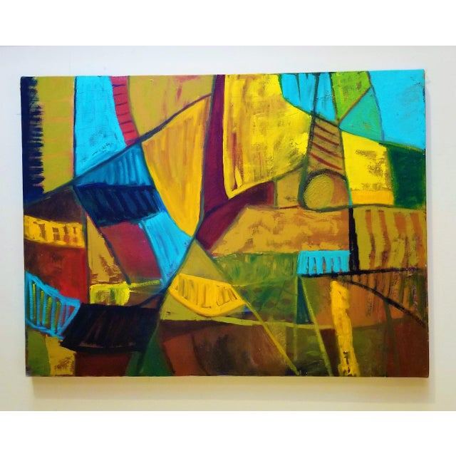 Paint Mid-Century Modern Abstract Teal & Orange Painting For Sale - Image 7 of 7
