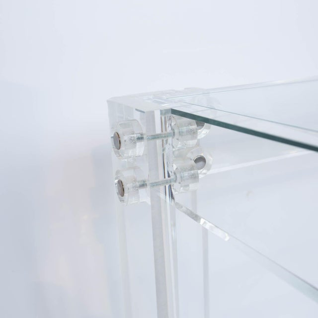 Modern Lucite and Glass Coffee Table For Sale - Image 3 of 8
