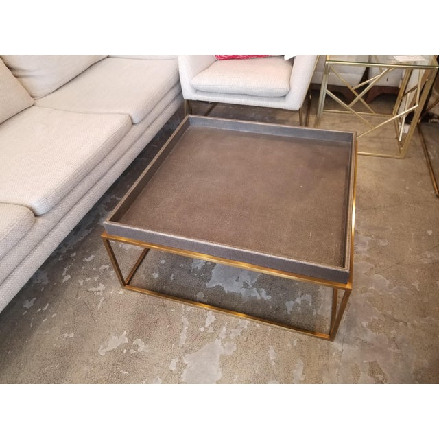 This is a very lightly used Restoration Hardware tray coffee table. It's in great condition, and the texture is so unique.