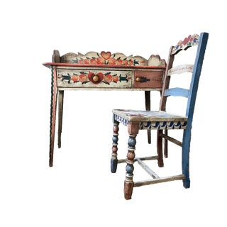 Final Markdown 1935 Peter Hunt Deco Folk Desk & Chair - a Pair