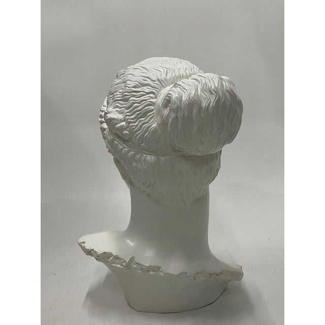 White Romantic Fiberglass Bust of Diana, Sculpture For Sale - Image 8 of 13