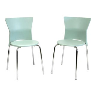 Italian Made Olaf Von Bohr Isis Blue Plastic Shell Chairs - a Pair