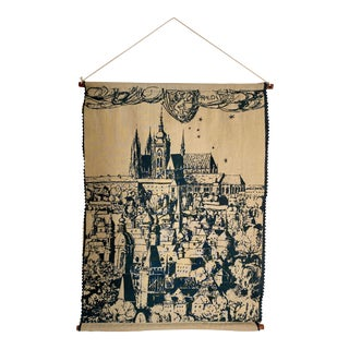 Mid 20th Century Czech Screen Print Tapestry For Sale
