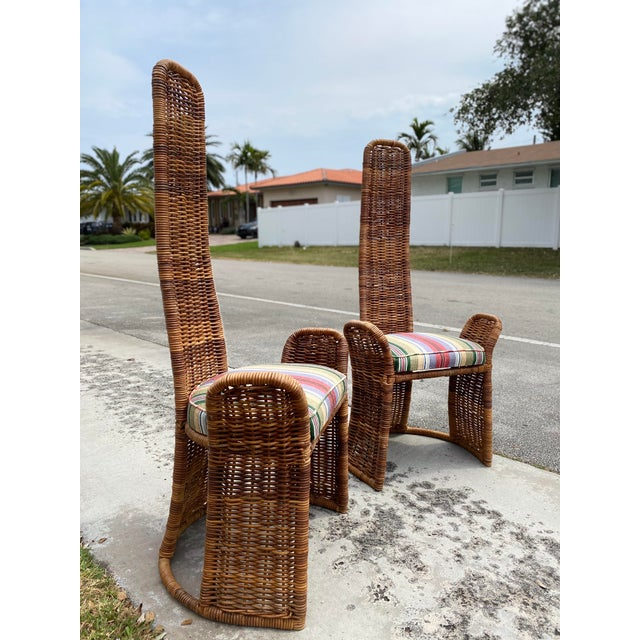 1970s Wicker Arm Chairs - a Pair For Sale - Image 5 of 11