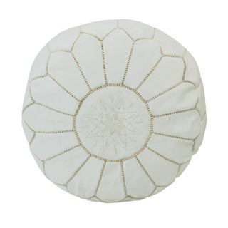 Moroccan White Leather Pouf Ottoman