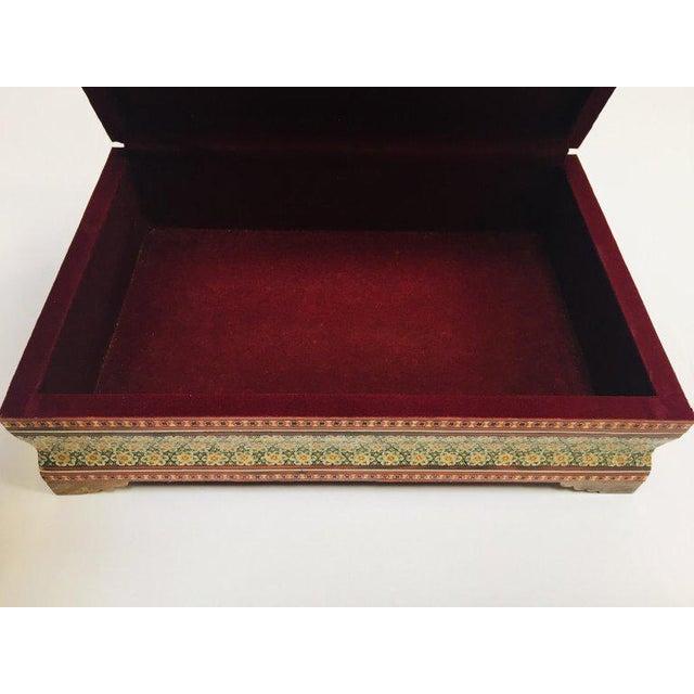 Large Persian Jewelry Mosaic Khatam Inlaid Box For Sale - Image 9 of 13