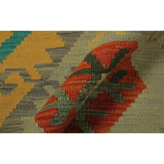 Felice Gold/Gray Hand-Woven Kilim Wool Rug -6'7 X 9'10 For Sale - Image 4 of 8
