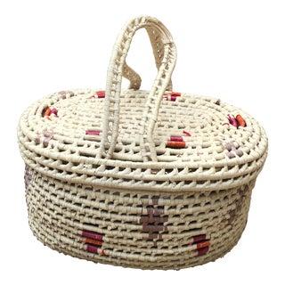 Vintage Boho Style Woven Basket