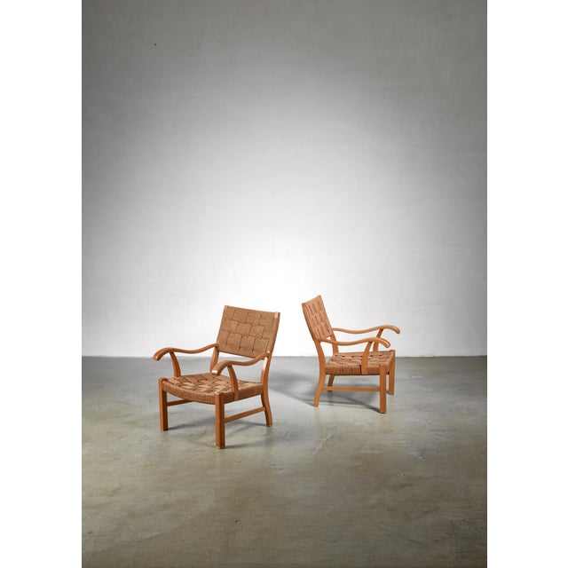 1930s Fritz Hansen Beech and Seagrass Chairs, Denmark, 1930s For Sale - Image 5 of 5