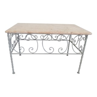 Vintage French Iron & Marble Top Coffee Table For Sale