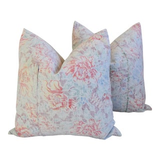 "BoHo Chic Designer Floral Batik Feather/Down Pillows 24"" Square - Pair For Sale"