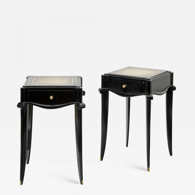1950s Jean Pascaud Black Lacquered and Gold Sabot Bedside or Side Table For Sale - Image 5 of 5