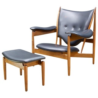 Finn Juhl Walnut Teak Chieftain Chair and Ottoman for Baker For Sale