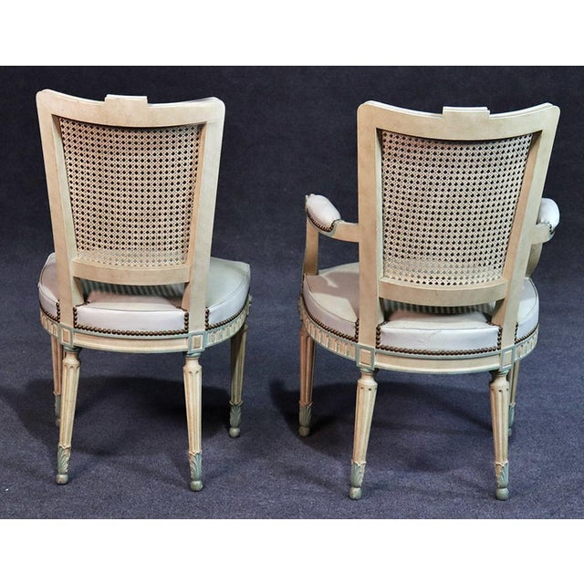 Set of 8 French Louis XVI Style Caned Back Dining Chairs For Sale - Image 12 of 13