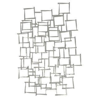 Abstract Mid-Century Modern Brutalist Metal Wall Sculpture For Sale