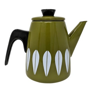 Cathrineholm Mid-Century Enamel Lotus Coffee Pot, Made in Norway For Sale