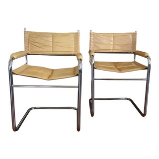 1970s Vintage Mustard Yellow Cantilevered Chrome and Leather Chairs- A Pair For Sale