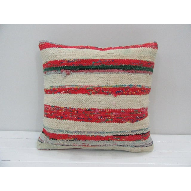 Vintage Handmade Red and White Striped Kilim Pillow Cover For Sale - Image 4 of 4