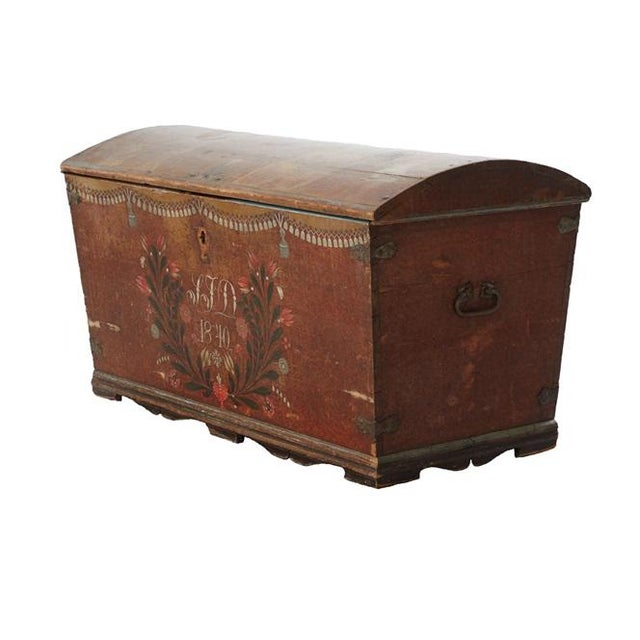 Antique Swedish Chest circa 18th Century in good condition for its age. Dated 1840 with initials IJD. Decoratively painted...