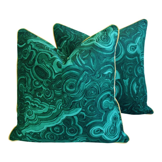 "24"" Tony Duquette-Style Jim Thompson Malachite Feather/Down Pillows - Pair - Image 1 of 6"