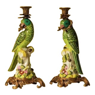 Late 20th Century Vintage Meissen Style Porcelain Parrot Figure Candle Holders - A Pair