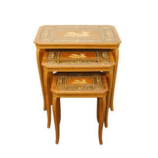 Late 20th Century Vintage Italian Imported Hand-Inlaid Nesting Tables- Set of 3 For Sale