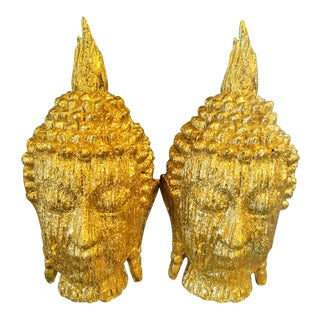A Pair Large Carved Wood Gold Metallic Buddha Head Statues For Sale