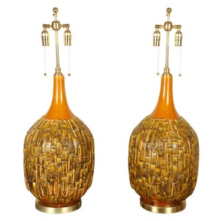 1970s Large Brass Ginger Jar Lamps - a Pair For Sale