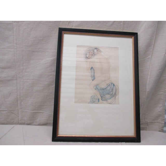 Vintage framed Rodin watercolor print from Rodin museum in Paris Size: 23.5 x 17.5 x 0.03