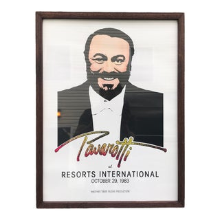 1983 Original Luciano Pavarotti Framed Concert Poster For Sale