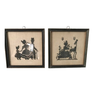 1920s Vintage Silhouette Needlepoint Miniatures - a Pair For Sale