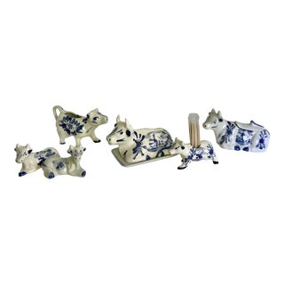 Vintage Dutch Blue and White Porcelain Dairy Cows - Set of 6 For Sale