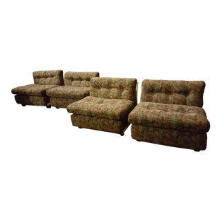 Mid Century Modern Mario Bellini for B&b Italia Amanta Lounge Chairs - Set of 4 For Sale