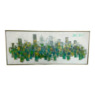 """Vintage Mid-Century James Roberts """"Skyline Cityscape"""" Abstract Oil Painting For Sale"""