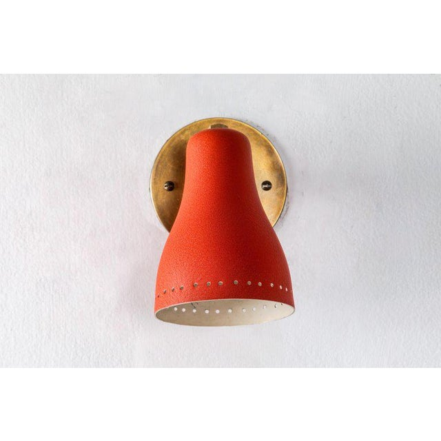 Jacques Biny 1950s Red Perforated Sconces Attributed to Jacques Biny - a Pair For Sale - Image 4 of 11